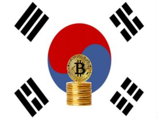 South Korean flag with bitcoin