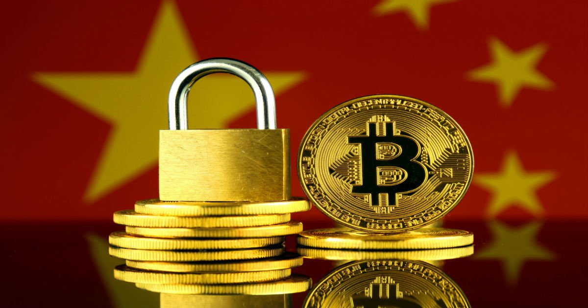 Locked down cryptocurrency with Chinese flag in background