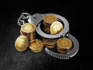 Bitcoin in handcuffs as more banking institution wants ban for BTC concept. 3D rendering