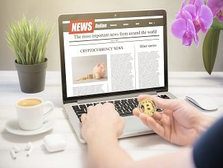 Man reading cryptocurrency news on a laptop screen.