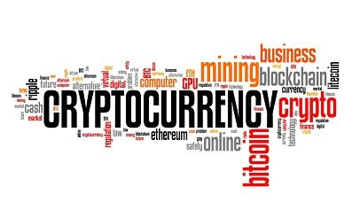 Cryptocurrency - Word cloud sign.
