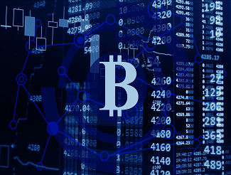 Bitcoin symbol against trading screen