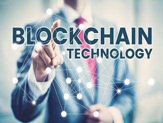 Man pointing to blockchain