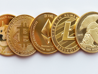 Crypto coins side stacked